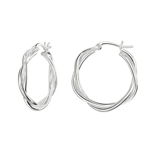 Silver Twisted Hoops
