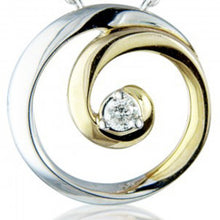 Load image into Gallery viewer, 9ct Yellow & White Gold Diamond Swirl Necklace