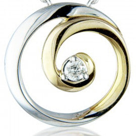 9ct Yellow & White Gold Diamond Swirl Necklace