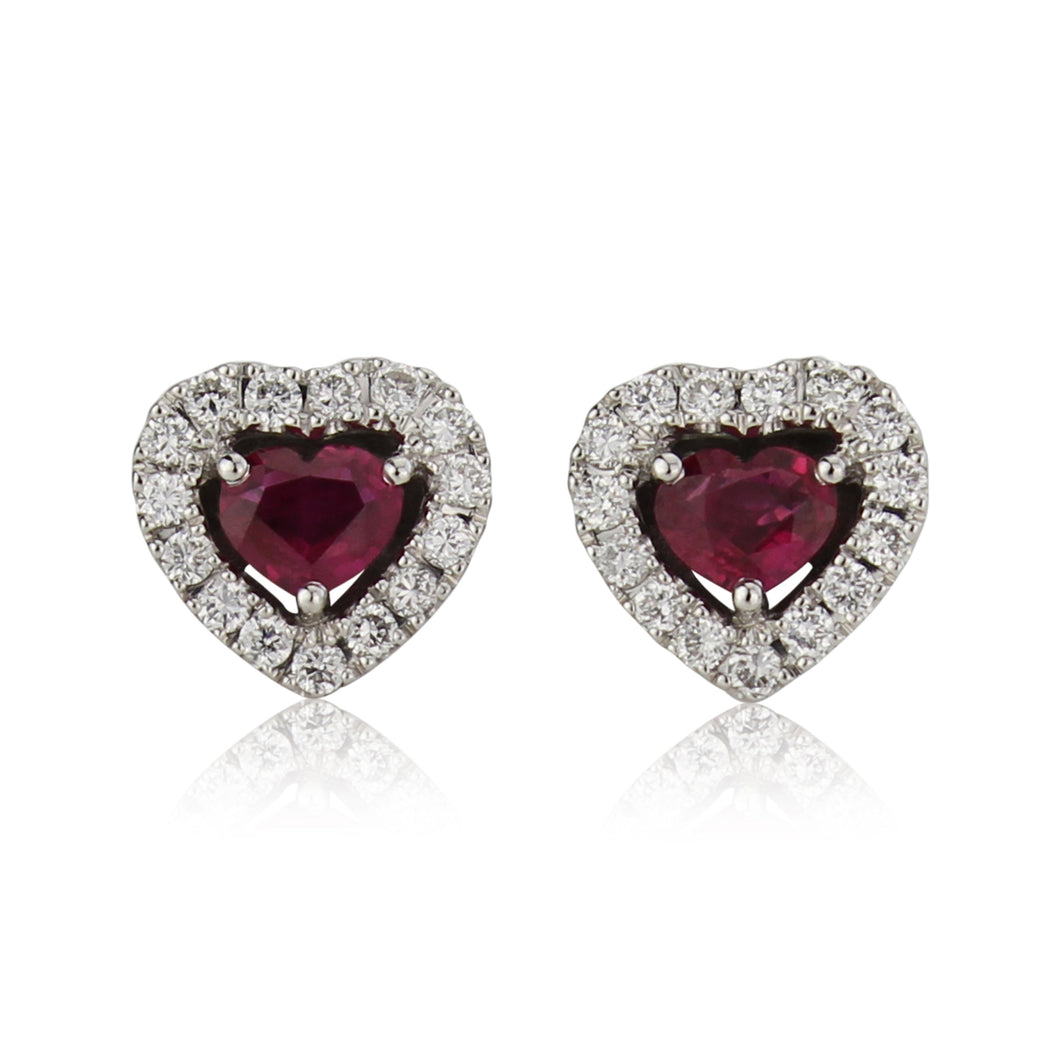18ct Gold Ruby & Diamond Heart Stud Earrings