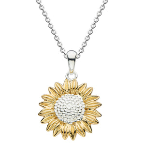 Silver and Gold Plate Sunflower Pendant & Chain
