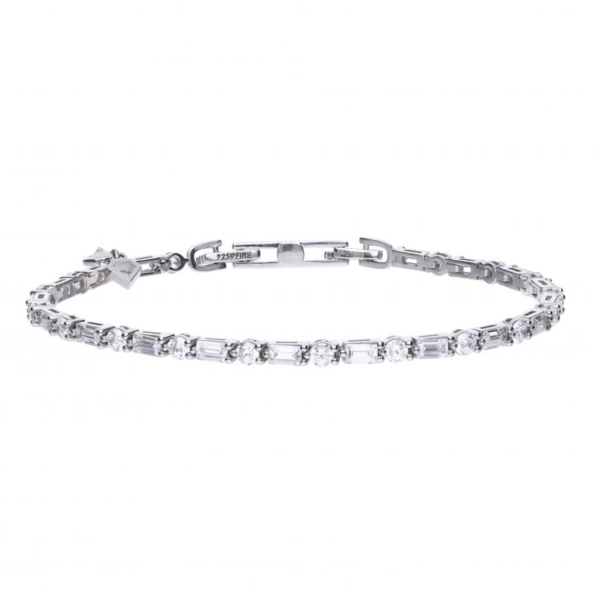 Diamonfire Cubic Zirconia Baguette and Rounds Bracelet