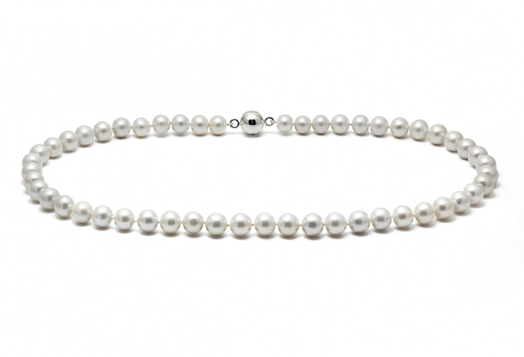 Classic Fresh Water Pearl Necklace on White Gold Clasp - 10-10.5mm