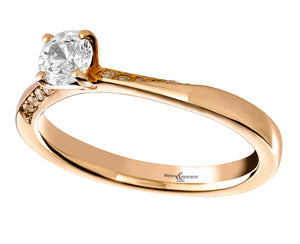 18ct Rose Gold Solitaire Diamond ring with diamond set twist Shoulders 0.33ct