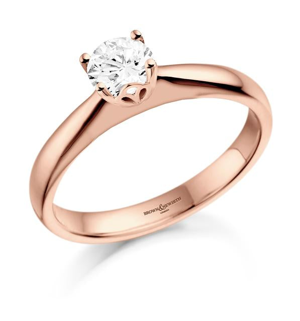 18ct Rose Gold Diamond Tulip Solitaire Ring 0.50ct