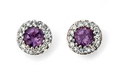 9ct Gold Petite Amethyst & Diamond Round Halo Stud Earrings