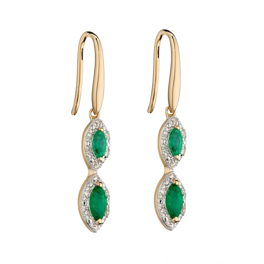9ct Emerald Marquise Drops