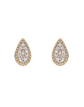 9ct Gold Diamond Pear Shaped Stud Earrings