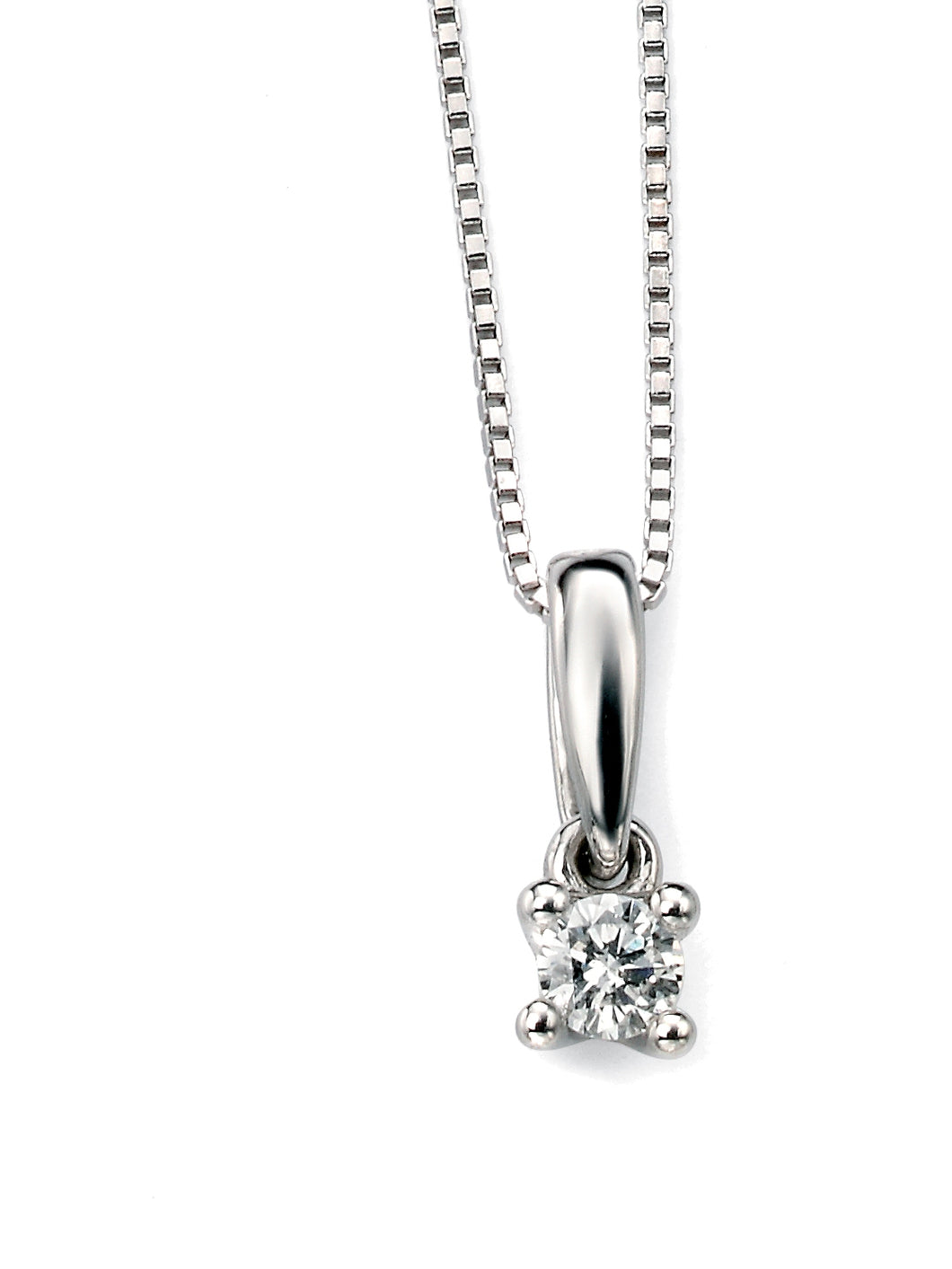 9ct White Gold Solitaire Diamond Pendant 0.10ct