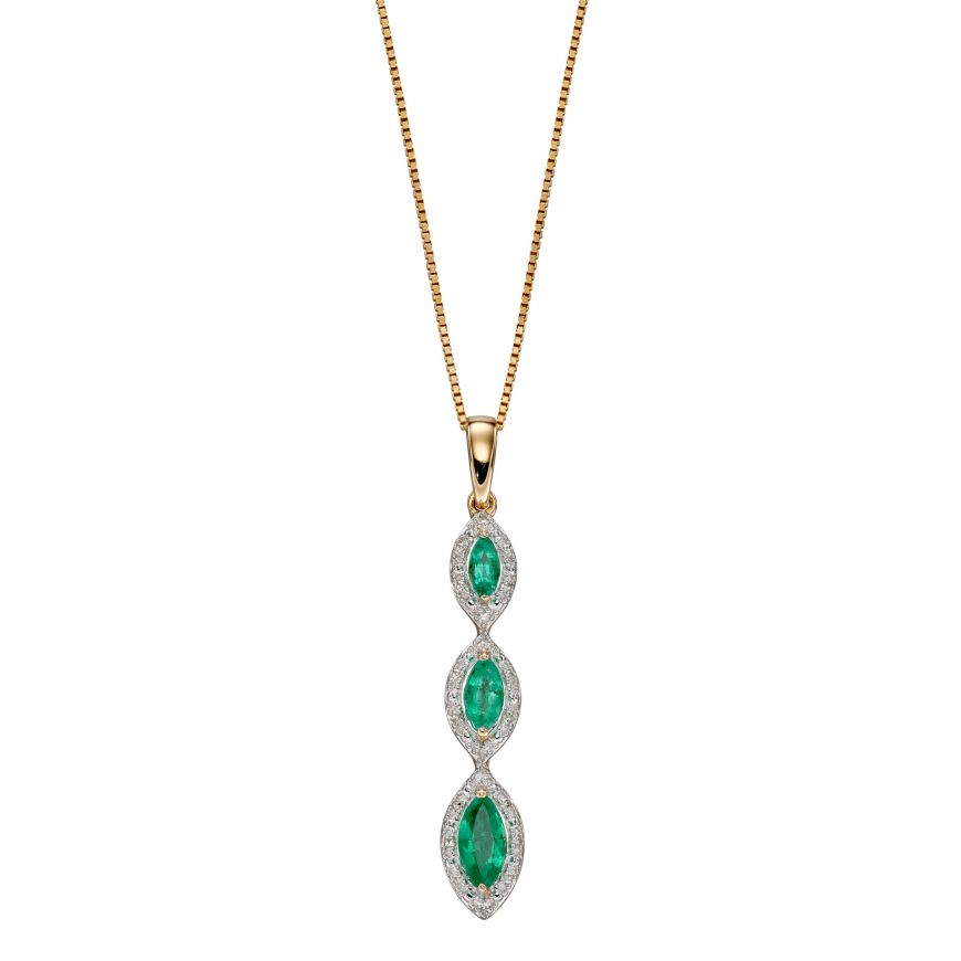 9ct Diamond and Emerald Marquise Necklace