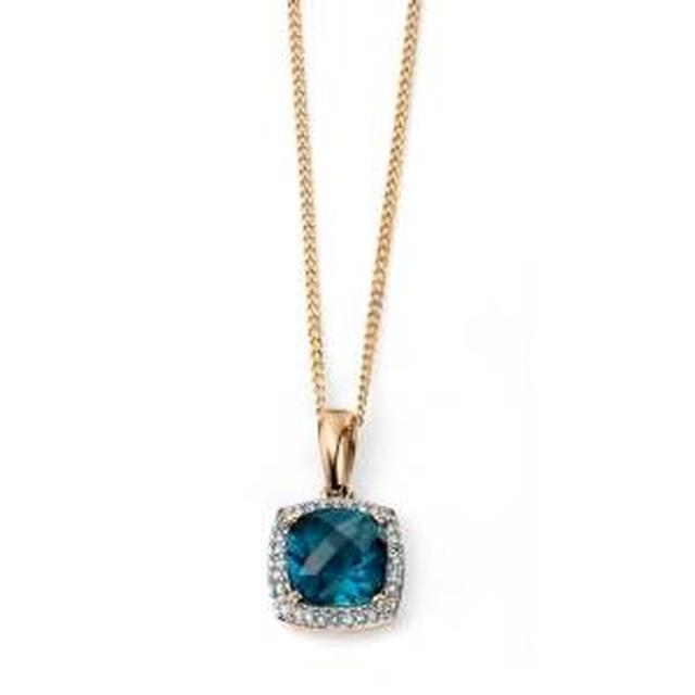 9ct Gold London Blue Topaz Cushion Necklace