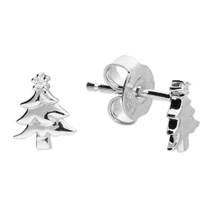 Sterling Silver Christmas Tree Dinky Studs