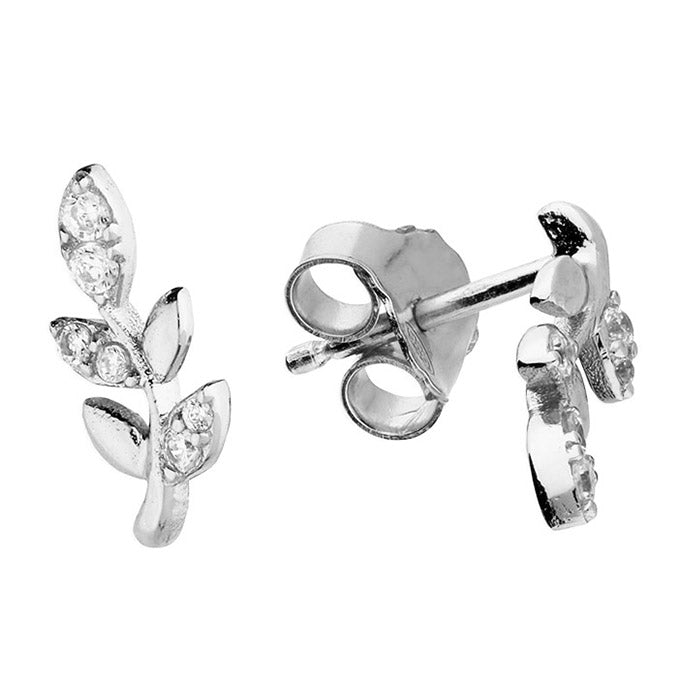 Silver Cubic Zirconia Delicate Leaf Studs