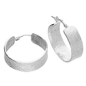 Silver Wide Textured Hoops