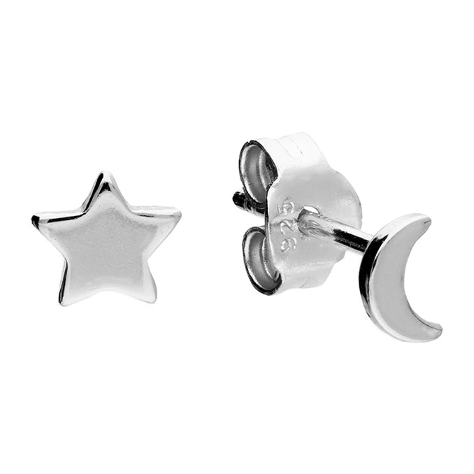 Sterling Silver Asymmetric Star and Moon Studs