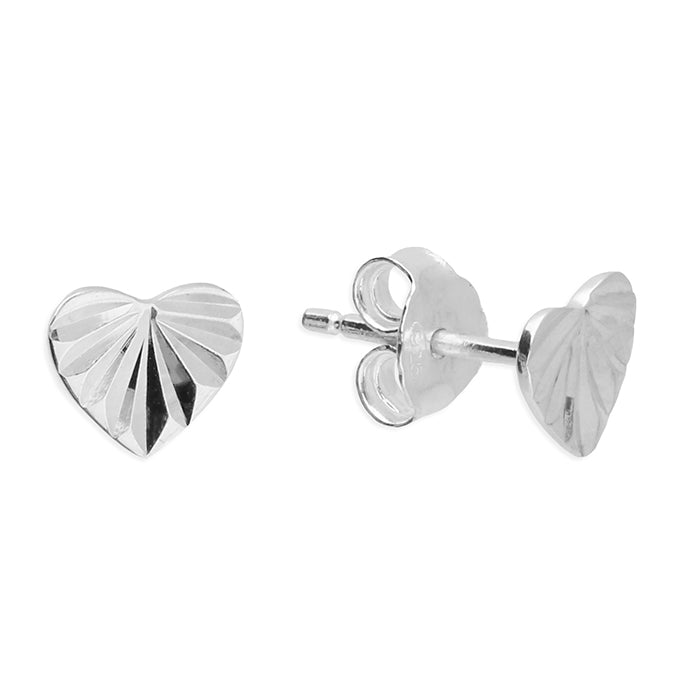 Sterling Silver Engraved Heart Studs