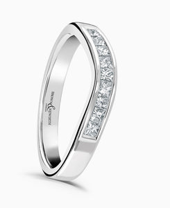 Shaped Wedding Ring - Princess Cut Diamonds