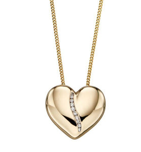 9ct Gold Diamond Polished Heart Pendant & Chain