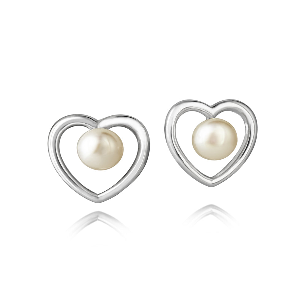 Jersey Pearl Kimberley Selwood Heart Stud Earrings