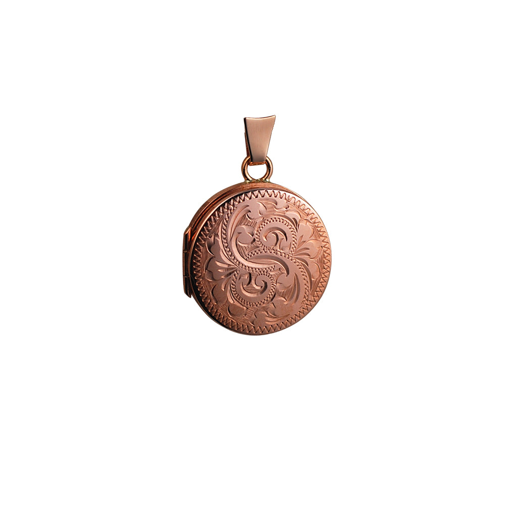 9ct Rose Gold Round Engraved Locket & Chain