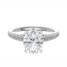 Load image into Gallery viewer, Platinum Oval Diamond Ring 0.50ct