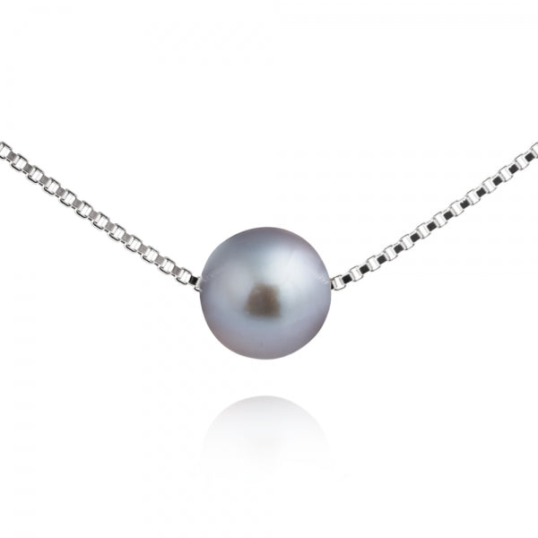 Jersey Pearl Grey Freshwater Pearl Slider Necklace