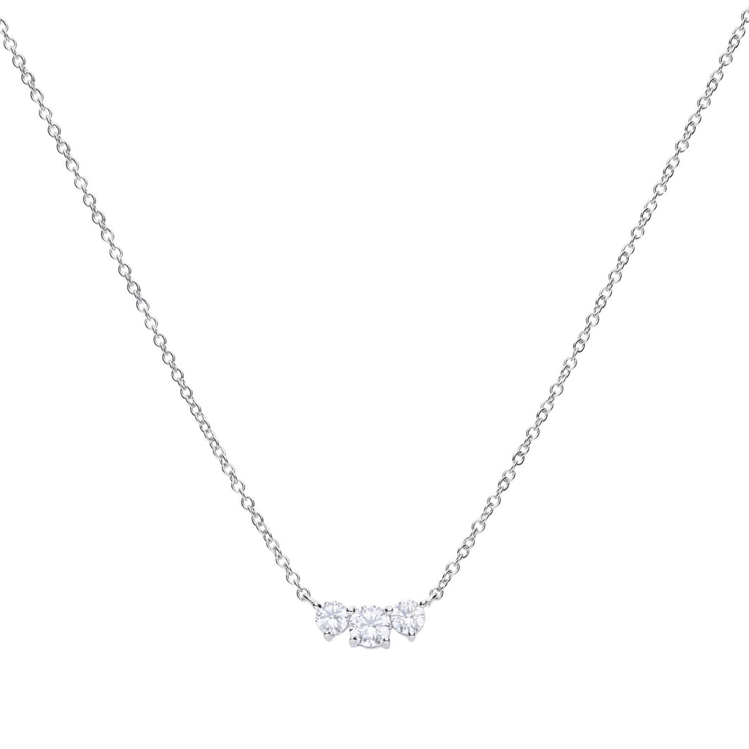 Diamonfire Cubic Zirconia Graduated 3 Stone Necklace