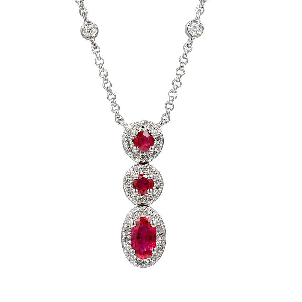 9ct White Gold Ruby & Diamond Necklet