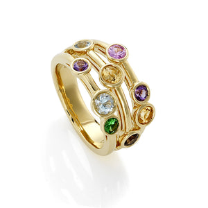 9ct Gold Mixed Gemstone Bubble Ring