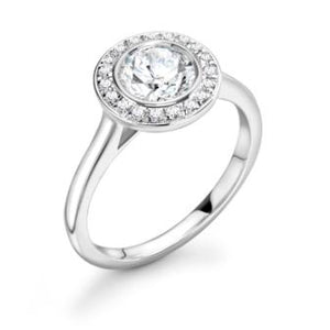 18ct White Gold Diamond Halo Ring 0.25ct