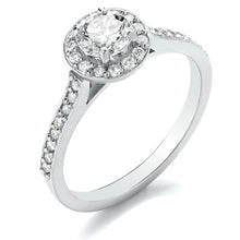 Load image into Gallery viewer, Platinum Diamond Halo Ring with Diamond Set Shoulders 0.80ct
