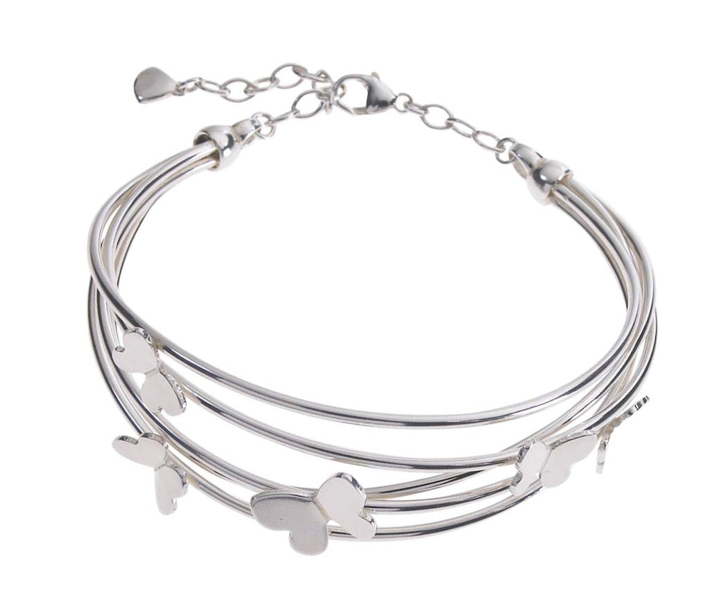 Silver Multi Row Butterfly Bangle