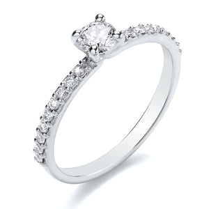 18ct White Gold Diamond Solitaire with Diamond Set Shoulders 0.38ct