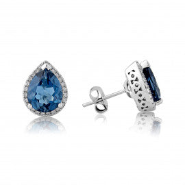 9ct White Gold London Blue Topaz & Diamond Pear Stud Earrings