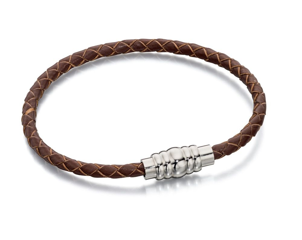 Fred Bennet Brown Leather Skinny Bracelet