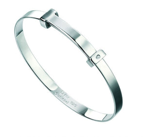 D for Diamond Plain Diamond Set Bangle