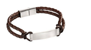 Fred Bennett Brown Double Strand ID Leather Bracelet