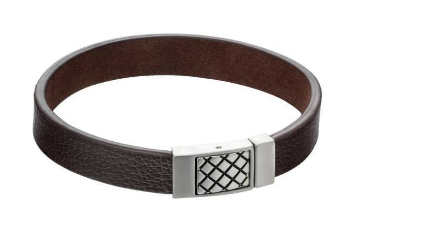 Fred Bennett Brown Leather Bracelet with Crossed Clasp