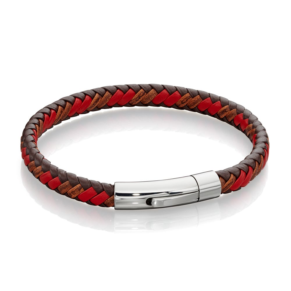 Fred Bennett Red & Brown Leather Steel Bracelet