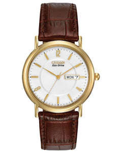 Citizen Gents Gold Plated Watch with Leather Strap