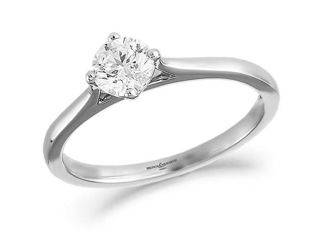 White Gold Diamond compass Set Solitaire Ring 0.20ct