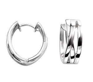 Silver Triple band Huggie Hoop Earrings