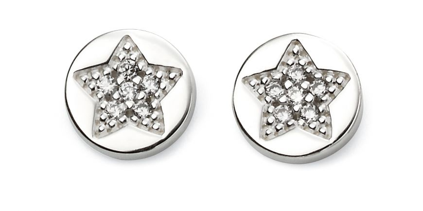 Silver & Cubic Zirconia Circle Star Studs