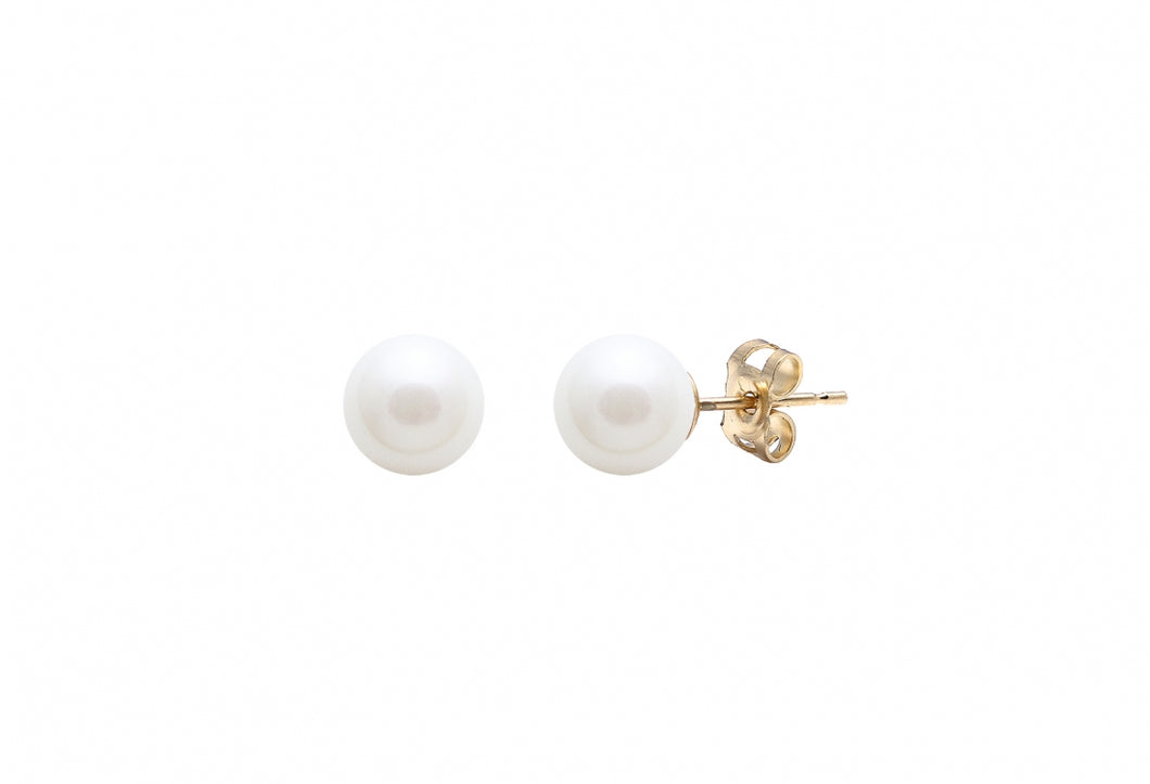 Classic Pearl Stud Earrings - 9ct yellow gold 6.5mm
