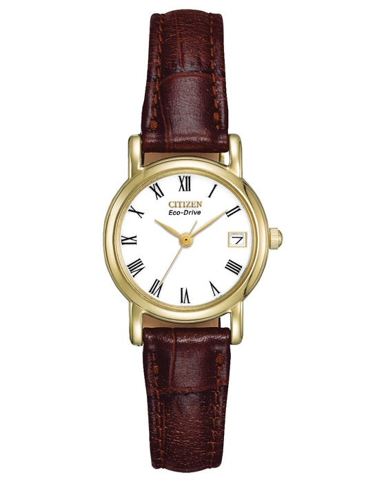 Ladies Citizen watch - Classic Brown Strap Gold Plated