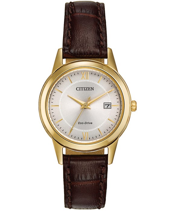 Ladies Citizen Watch - Eco Drive Brown Strap Gold Plate