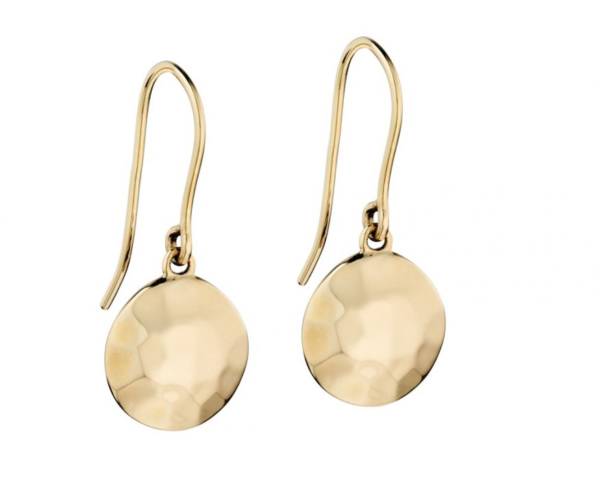 9ct Gold Hammered Disk Drop Earrings