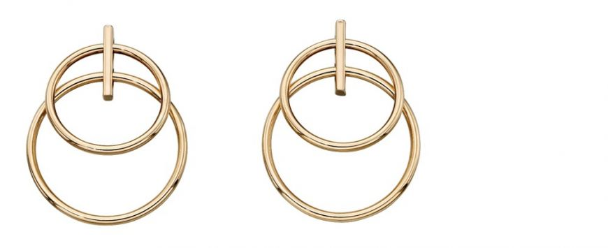9ct Gold Double Loop Stud Earrings