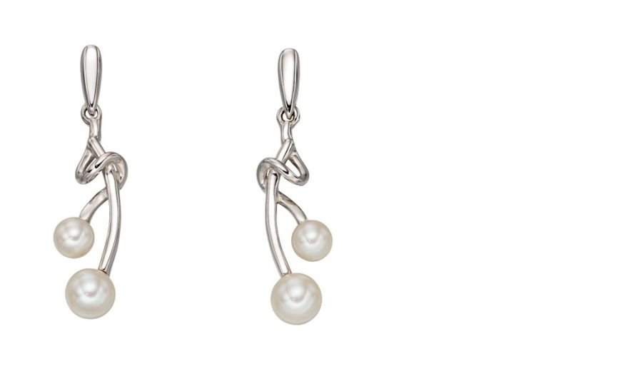 9ct White Gold Pearl Vine Drop Earrings