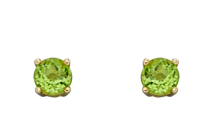 9ct Gold Peridot Round Stud Earrings